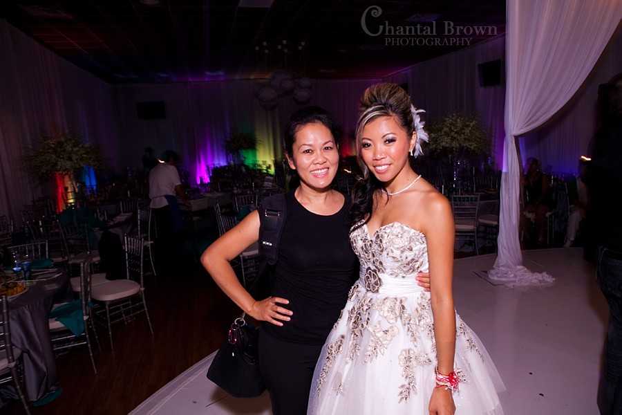 Cambodian wedding reception in Arlington at A1 Super Buffet venue Chantal Brown posing with bride
