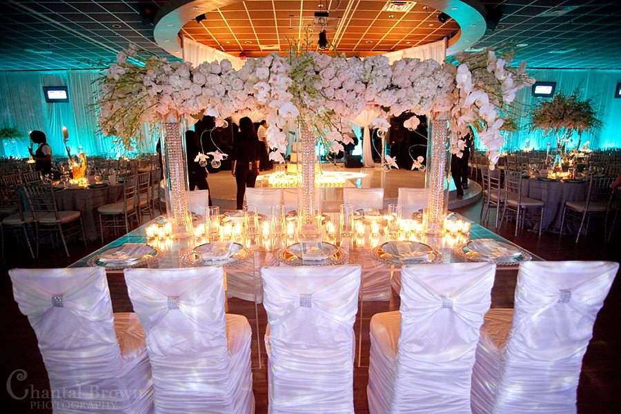 Dallas wedding reception beautiful detailed diamond crystal white roses centerpieces