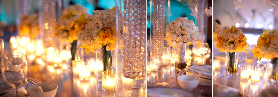 Dallas wedding reception beautiful detailed diamond crystal white roses centerpiece