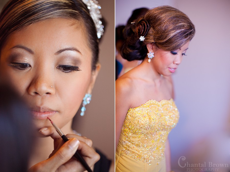 ft worth cambodian wedding bride putting make up on