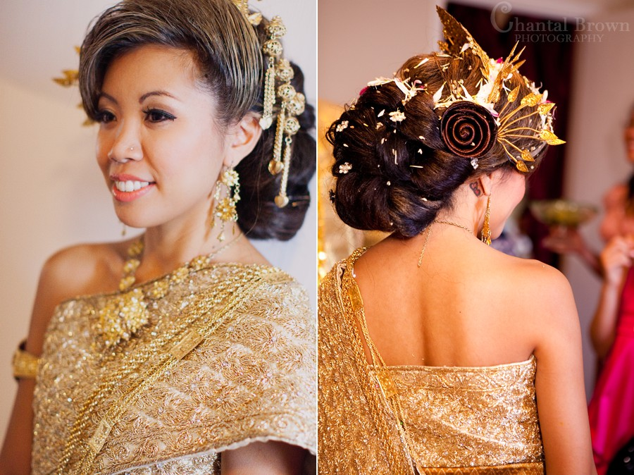 ft worth cambodian wedding bride in gold khmer sparkling dress