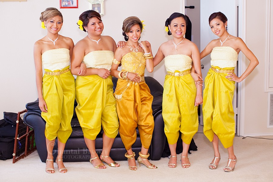 ft worth cambodian wedding bridesmaid in gold outfits