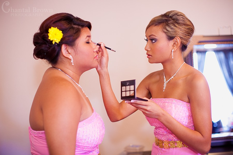ft worth cambodian wedding bridesmaid putting on makeup