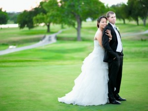 Lawton Country club wedding standing in golf field Chantal Brown Photography