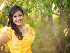 how to get hazy look in camera Dallas senior portrait wearing gold khmer outfit Chantal Brown Photography