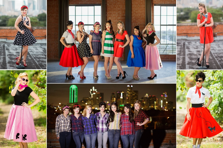 Dallas senior model search application for class of 2017 at Off The Grid. The Great Gatsby group themed photo shoot carrying suitcases and the 50s dresses taken by Chantal Brown Photography.