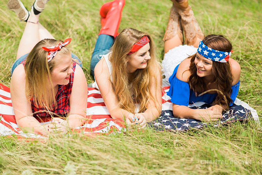 4th of July styled senior portraits group photo shoot in Dallas taken by Chantal Brown Photography during high noon.