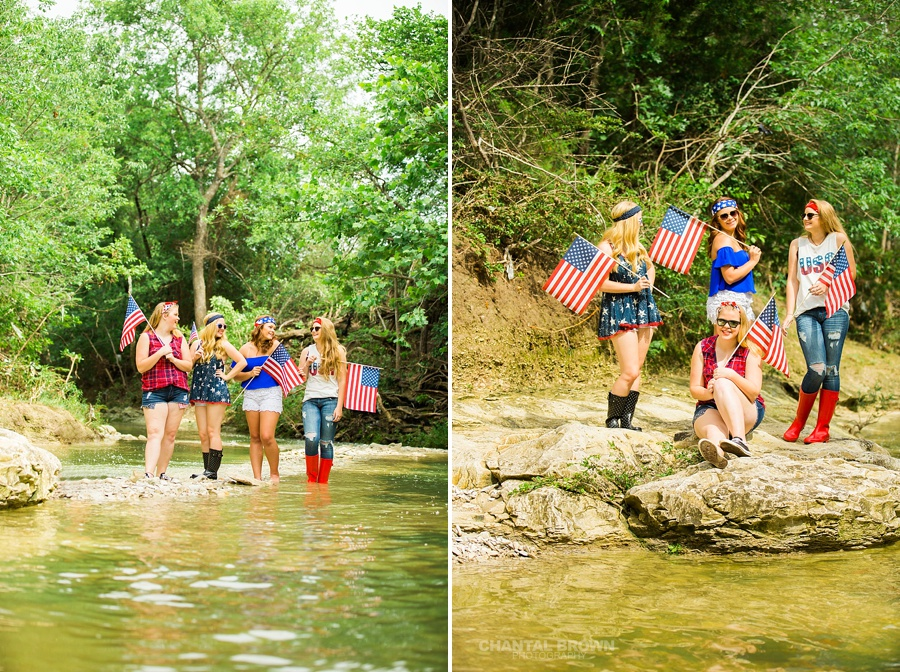 Dallas senior portraits for Happy 4th of July group session by water creek river taken by Chantal Brown Photography.