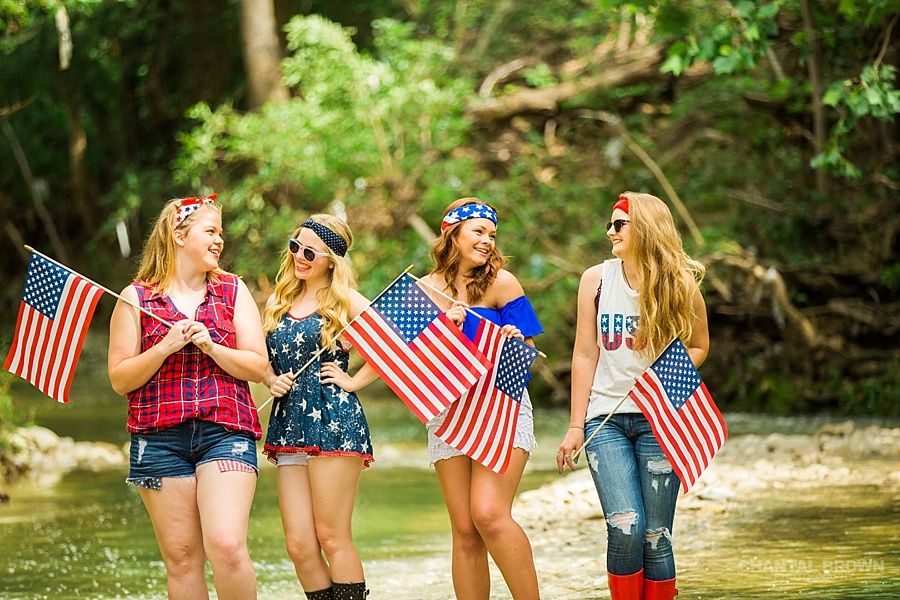 Red White and Blue styled senior portraits group photo shoot in Dallas by the water creek river taken by Chantal Brown Photography.