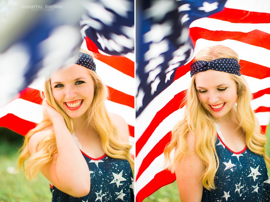 All American high school inspiration ideas photo shoot taken in Dallas covered with American flag. Taken by Dallas Chantal Brown Photography.