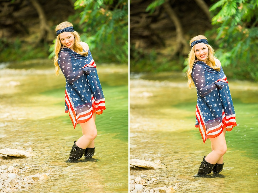 Wrapped around American flag scarf outfit senior portraits taken in Dallas water creek river for Allen high school student.