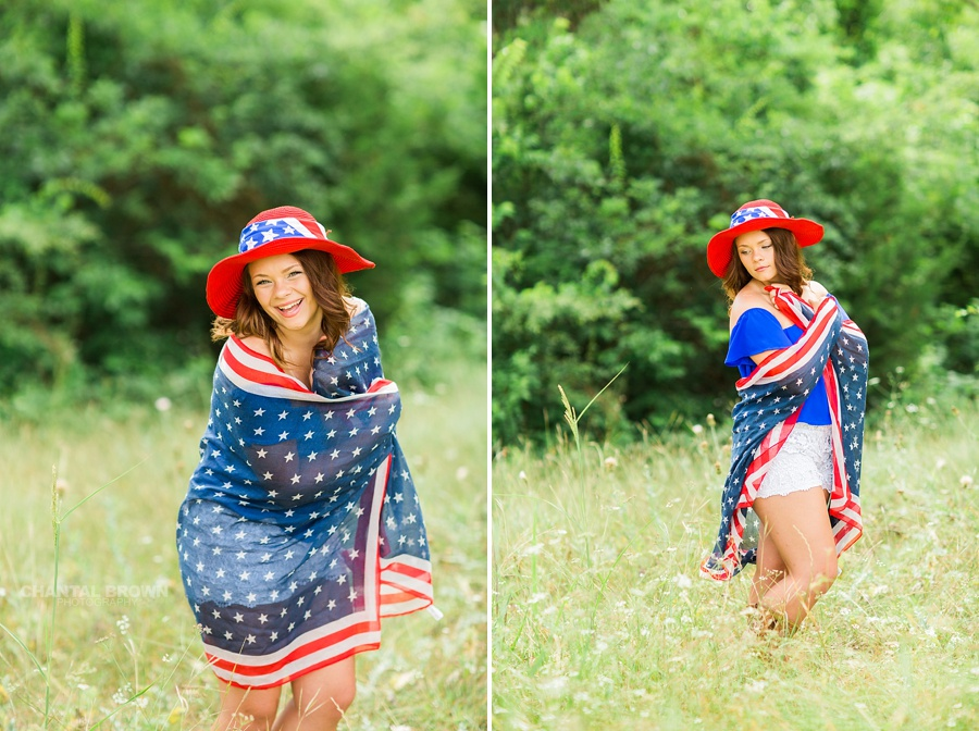 Laughing and smiling of a Mesquite high school student wrapped around an American flag scarf and wearing a red hat outfit. Taken by Dallas Chantal Brown Photography.