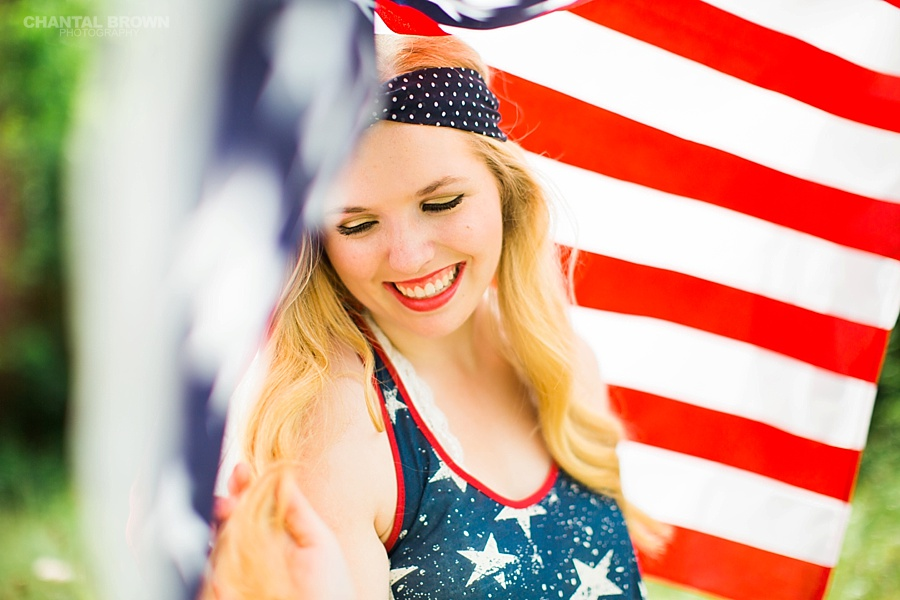 Happy 4th of July American flag creative photo shoot taken in Dallas for Allen High School student. by Chantal Brown Photography.