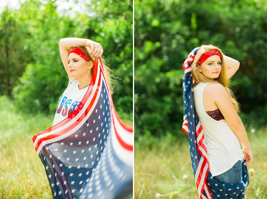 July 4th Dallas senior portraits of a Plano East high school girl holding an American flag scarf outdoor in a tall grass field during high noon.
