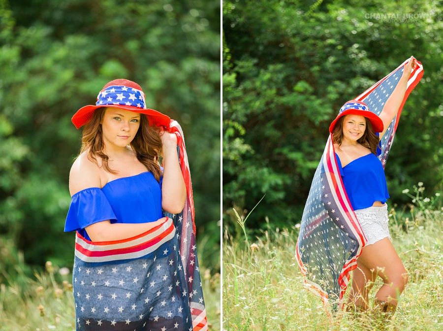 July 4th celebration themed photo shoot. A Mesquite high school senior student wrapped with an American flag scarf and wearing red, white and blue hat taken outdoor in a large tall grass field. Taken by Dallas Chantal Brown Photography.