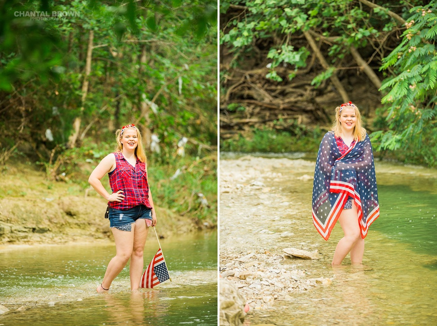 July 4th Dallas senior pictures inspiration American flag scarf outfit photo shoot taken by Dallas Chantal Brown Photography.