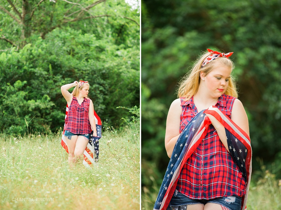 July 4th Dallas senior pictures wrapped around an American flag scarf and standing outdoor. Taken by Dallas Chantal Brown Photography.