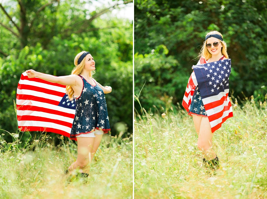 Patriotic American senior girls creative photo shoot in Dallas holding American flag and wearing red, white and blue outfits.