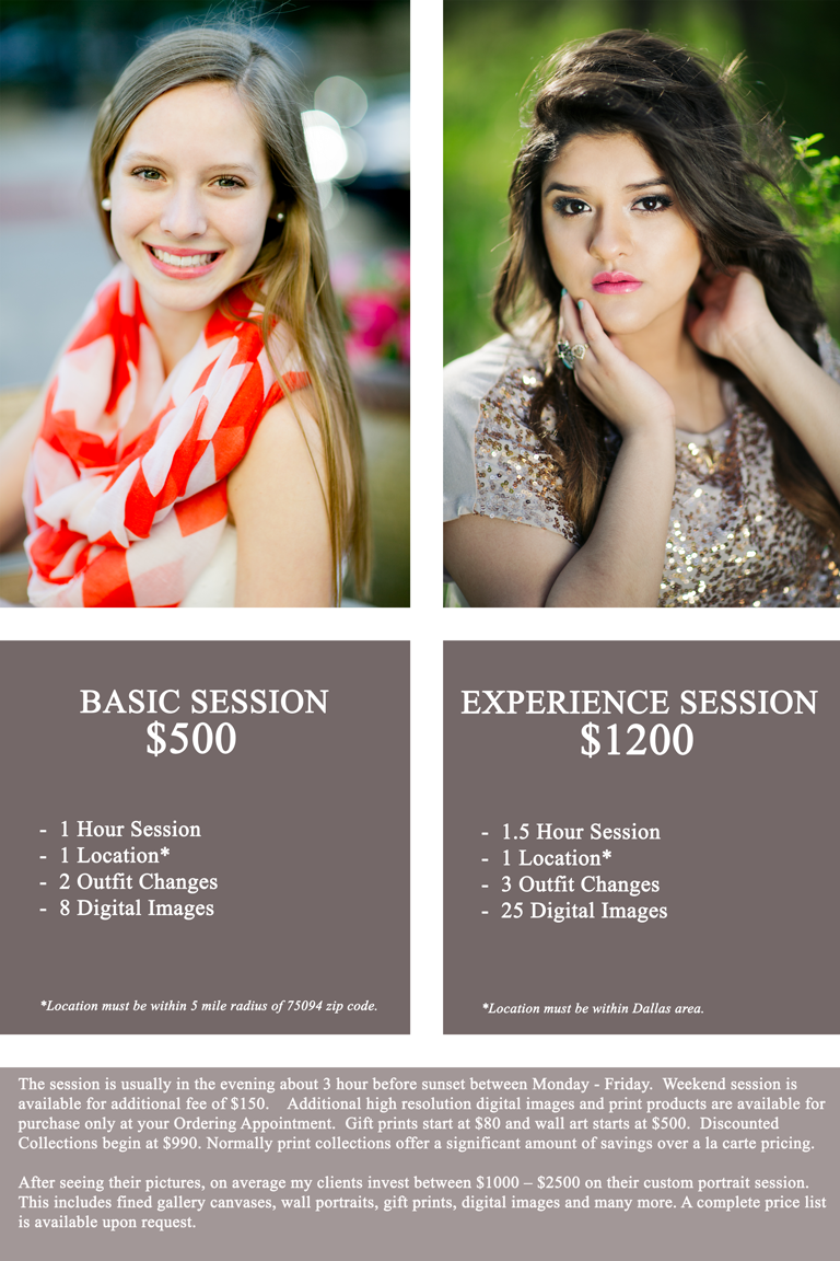 Best high school senior photographers prices in the Dallas area by Chantal Brown with great prices